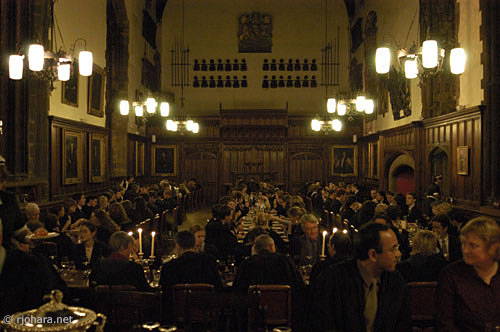 [Formal dinner in the medieval hall of the Castle, Durham University]