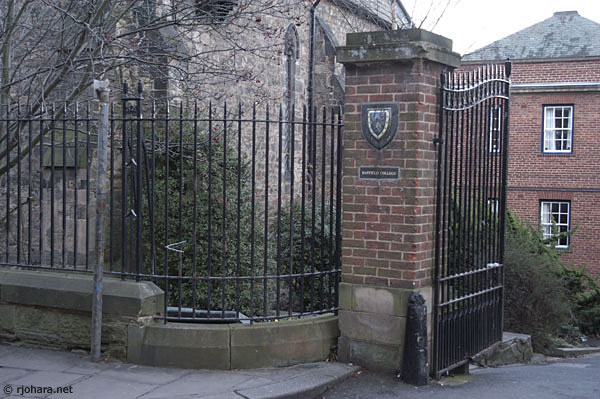 [Hatfield College gate along the Bailey in Durham]
