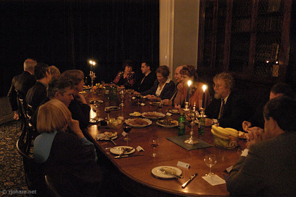 [Hatfield College senior members at coffee after dinner]