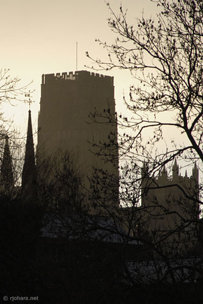 [Tower of Durham Cathedral in the north of England]