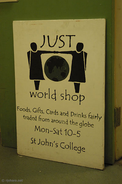 [Sign for the Just World Shop, St. John's College, University of Durham]