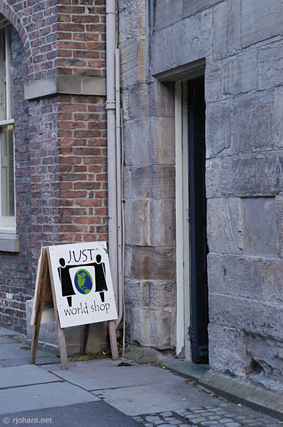 [Entrance to the Just World Shop, St. John's College, Durham University]