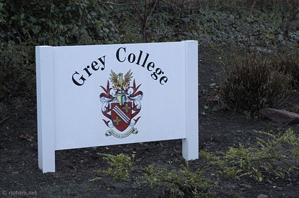 [Entrance sign to Grey College along South Road in Durham]