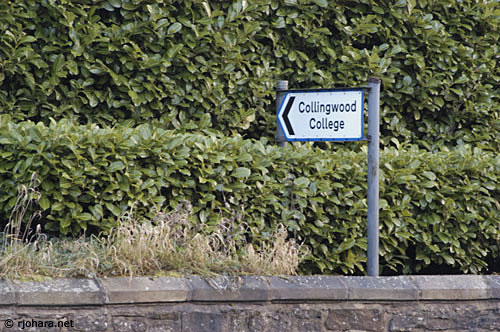 [Entrance sign to Collingwood College along South Road in Durham]