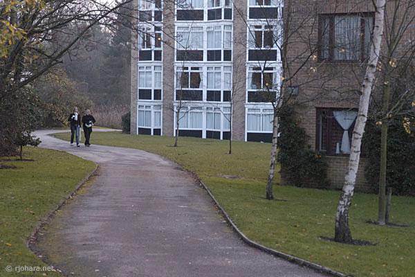 [Sidewalk along north side of Van Mildert College, Durham University]