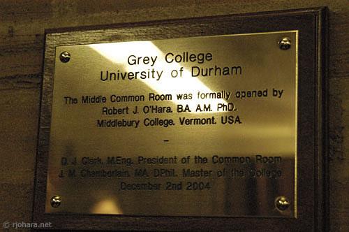[Grey College MCR plaque, University of Durham]