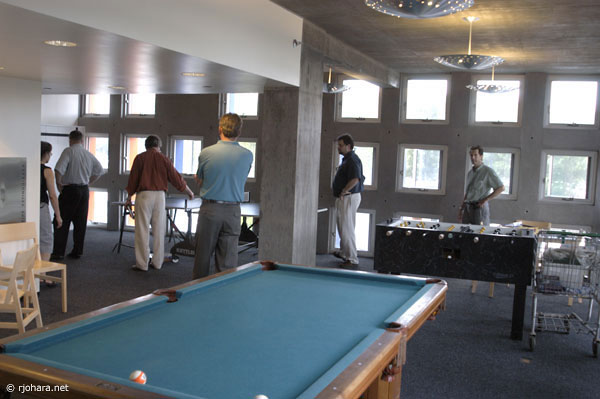 [The game room at MIT's Simmons Hall residential college]