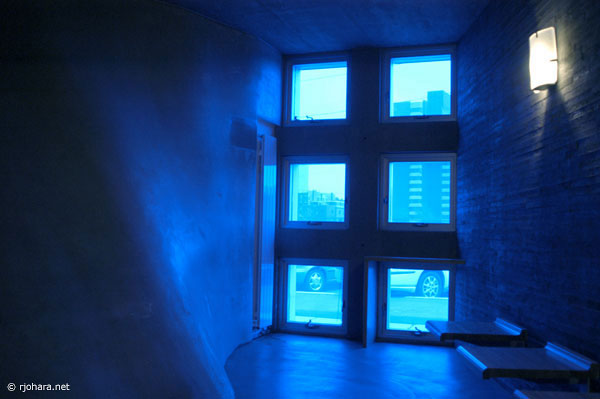 [The blue-lit Simmons Hall meditation room at MIT]