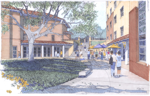 [Social space for LSU's new Graham Residential Colleges is organized around a piazza and preserved wild oaks. Rendering by Hanbury Evans Wright Vlattas + Company]