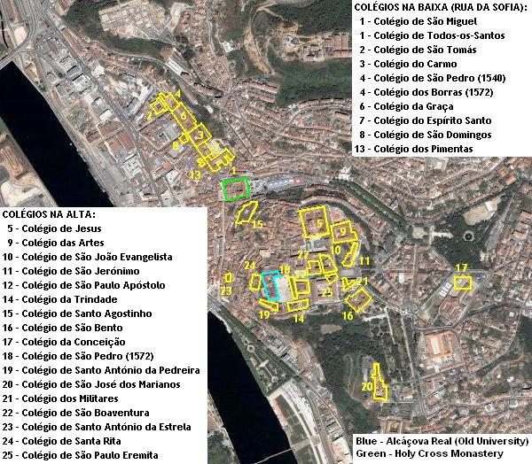 [Image: Locations of the early modern colleges of Coimbra University]