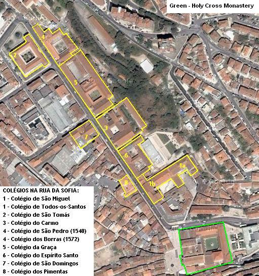 [Image: Locations of the Lower Town colleges of Coimbra University]