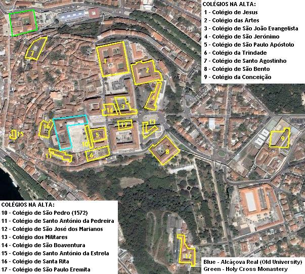 [Image: Locations of the Upper Town colleges of Coimbra University]
