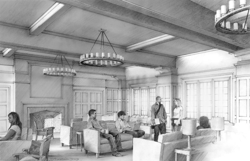 [Proposed Junior Common Room design for a new residential college at Yale University]