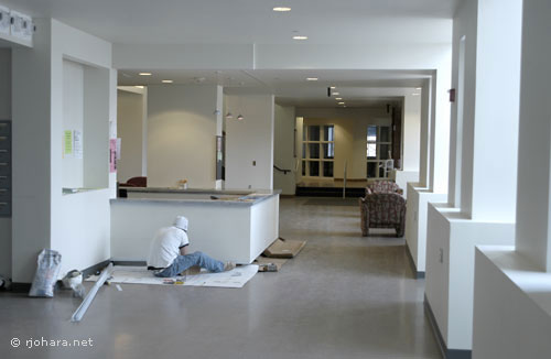 [Reception area of the UVM honors college, still under construction]