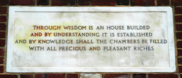 "[""Through wisdom is an house builded and by knowledge shall the chambers be filled.""]"