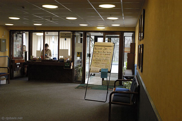 [Porter's office and reception area at St. Aidan's College, Durham University]