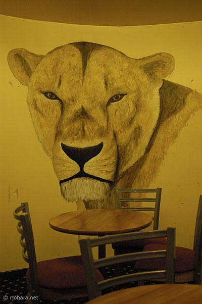 [Lion murals in the Hatfield College bar]