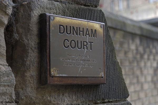 [Dunham Court plaque honoring Kingsley Dunham, Hatfield College]