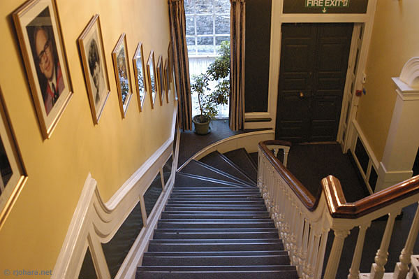 [Central staircase of St. John's College at the University of Durham]