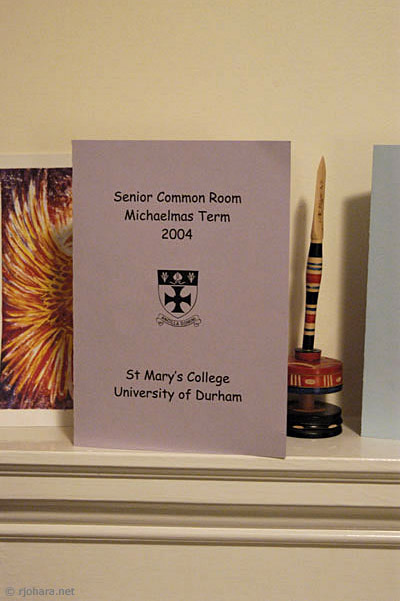 [Calendar of SCR events in St. Mary's College, Durham University]