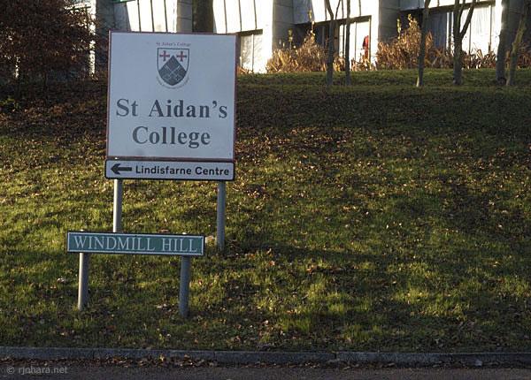 [St. Aidan's College sign, University of Durham]