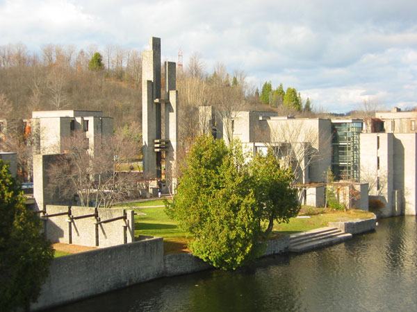[Champlain College along the banks of the Otonabee]