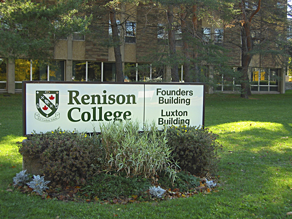 [Main sign by the entrance to Renison College, University of Waterloo]