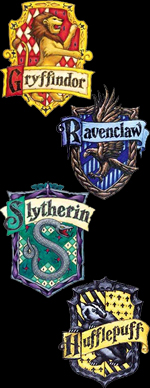 [The Hogwarts Houses: Gryffindor, Slytherin, Ravenclaw, and Hufflepuff]